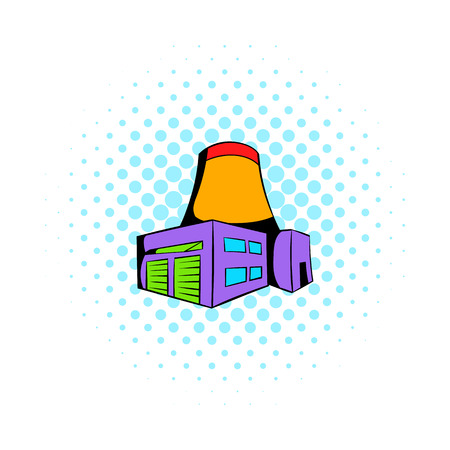 fumes: Nuclear power plant icon in comics style on a white background Illustration