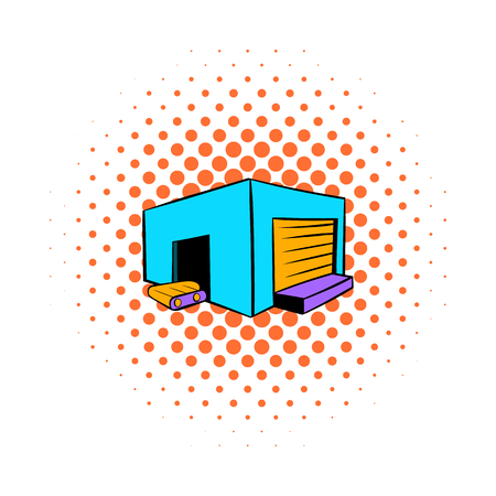 Industrial warehouse icon in comics style on a white background Illustration