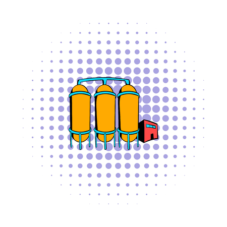 refinery: Oil refinery or chemical plant icon in comics style on a white background