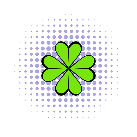superstition: Four leaf clover icon in comics style isolated on white background