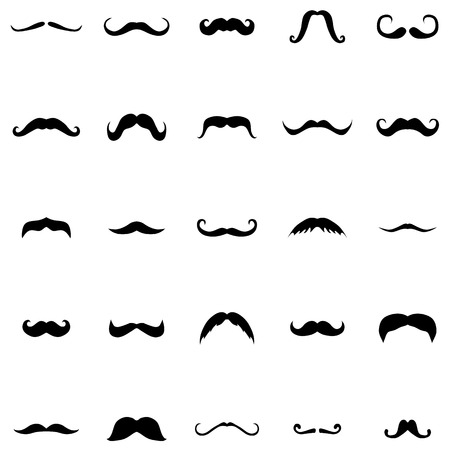 hipster mustache: Mustache silhouette set on a white background