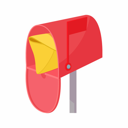 await: Red mailbox with mail icon in cartoon style on a white background
