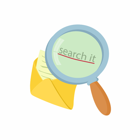 searh: Open yellow envelope and magnifying glass icon in cartoon style on a white background