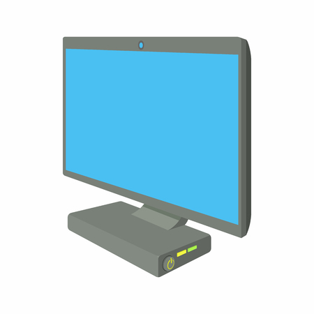 monoblock: Desktop computer icon in cartoon style on a white background