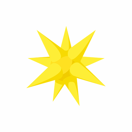 Gold moravian star icon in cartoon style on a white background