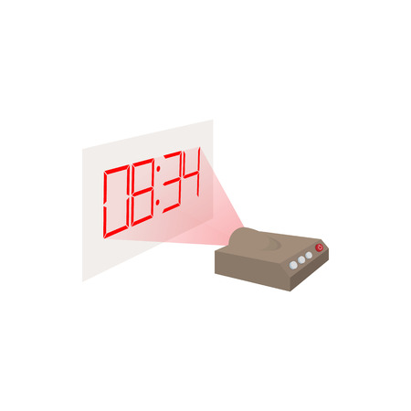 Hologram clock icon in cartoon style on a white background Illustration