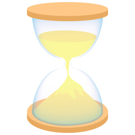 reloj de arena: Hourglass icon in cartoon style on a white background Vectores