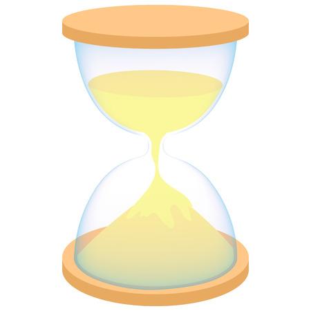 reloj de arena: icono de reloj de arena en el estilo de dibujos animados sobre un fondo blanco