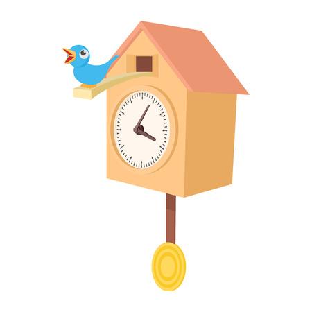 reloj cucu: Vintage icono del reloj de cuco de madera en estilo de dibujos animados sobre un fondo blanco