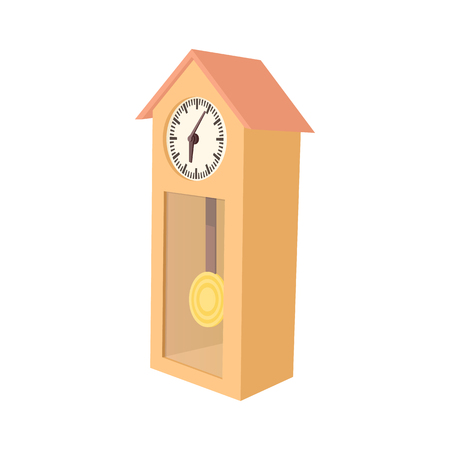 grandfather clock: Grandfather clock icon in cartoon style on a white background