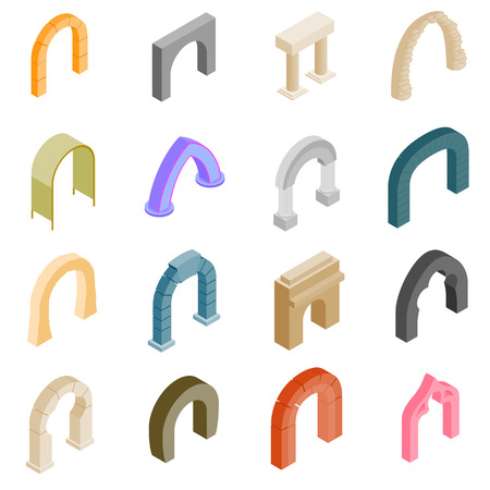 Arch set icons in isometric 3d style isolated on white background
