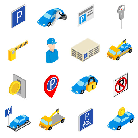 disabled parking sign: Parking set icons isolated on white background