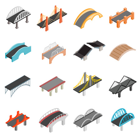 Bridge set icons in isometric 3d style isolated on white background