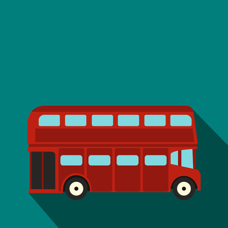 commuter: London double decker red bus icon in flat style on a blue background