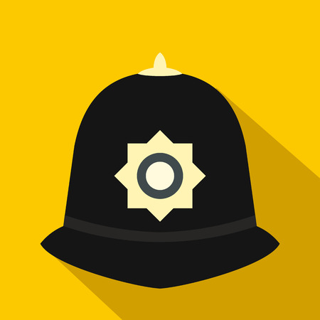 bobby: British police helmet icon in flat style on a yellow background Illustration