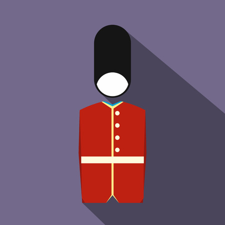 bearskin hat: A Royal Guard icon in flat style on a violet background Illustration