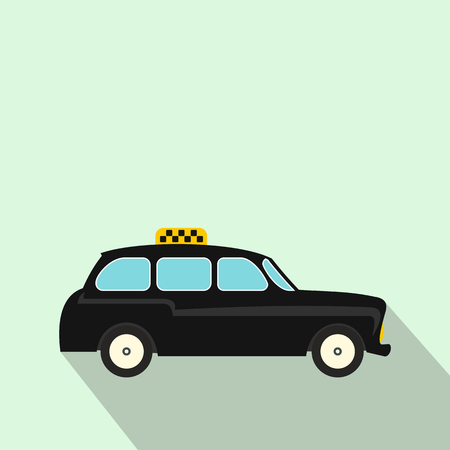 hackney carriage: London black cab icon in flat style on a light blue background