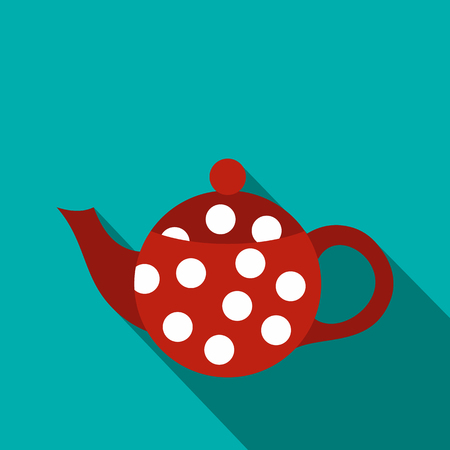 faience: Red spotty teapot icon in flat style on a blue background