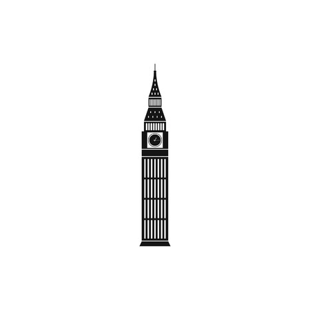 houses of parliament   london: Big Ben in Westminster, London icon in simple style on a white background