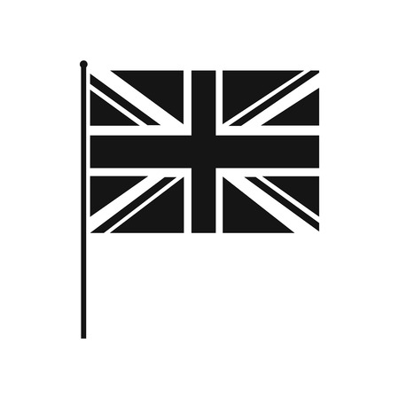 flagpole: Great Britain flag with flagpole icon in simple style on a white background
