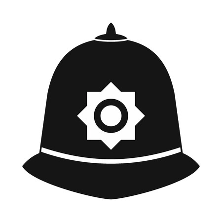 British police helmet icon in simple style on a white background