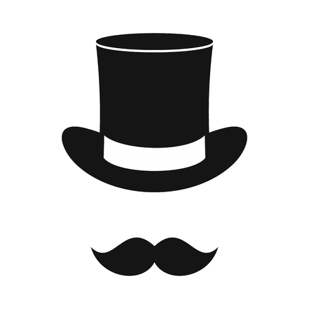 Male black mustache and cylinder icon in simple style on a white background