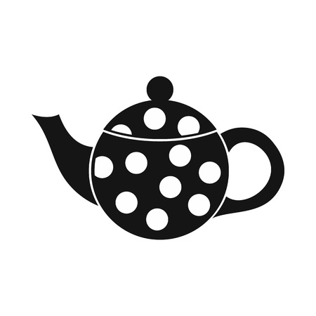 faience: Black spotty teapot icon in simple style on a white background Illustration