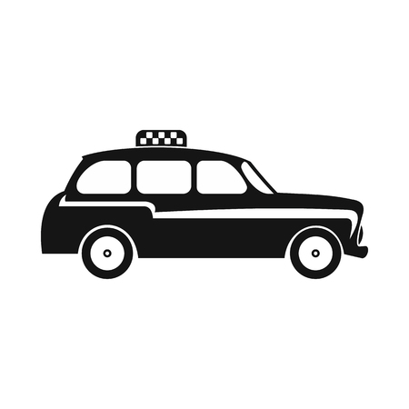 hackney carriage: London black cab icon in simple style on a white background