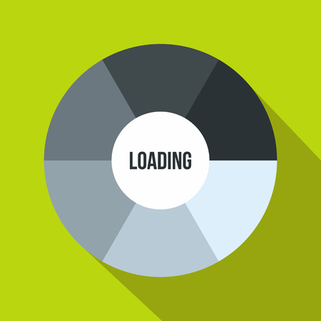 indicate: Circle loading icon in flat style on a green background