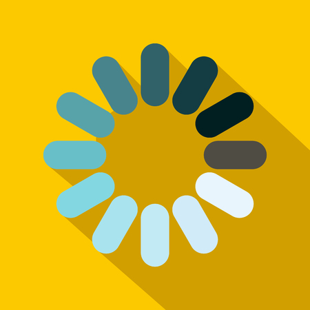 Loading circle sign icon in flat style on a yellow background