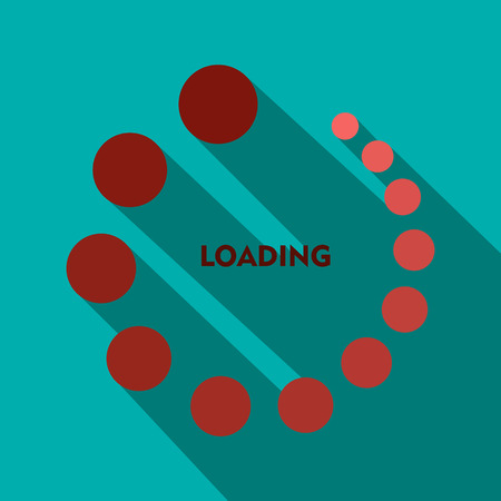 Loading icon in flat style on a blue background