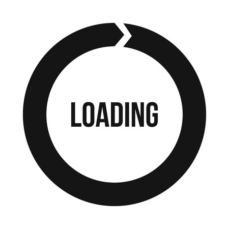Circle loading icon in simple style on a white background