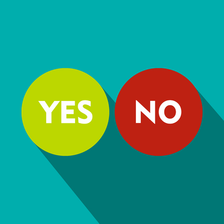 incorrect: Yes and No icon in flat style on a blue background Illustration