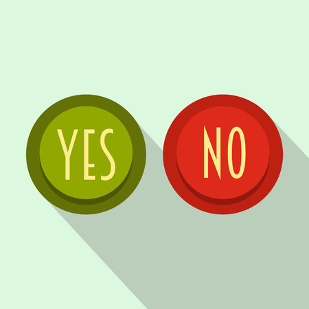 yes or no: Yes and No button icon in flat style on a light blue background Illustration