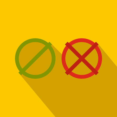 yes no: Yes No check marks icon in flat style on a yellow background
