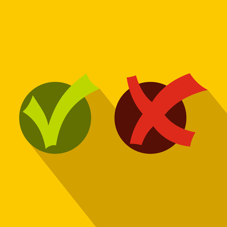 incorrect: Yes No check marks icon in flat style on a yellow background
