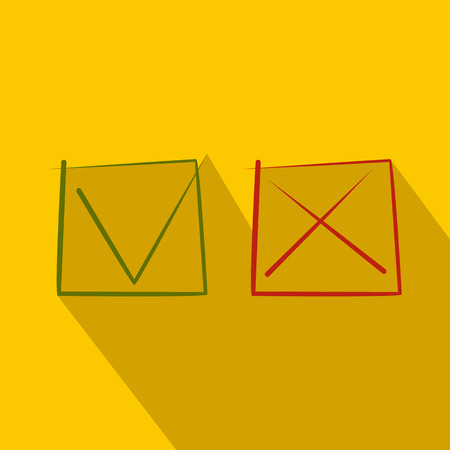 answer approve of: Yes No check marks icon in flat style on a yellow background