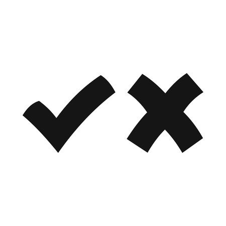 Yes No check marks icon in simple style on a white background