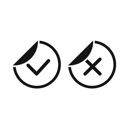 not confirm: Tick and cross sticker icon in simple style on a white background