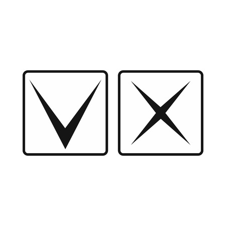 Tick and cross icon in simple style on a white background