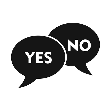 not confirm: Yes No bubbles icon in simple style on a white background