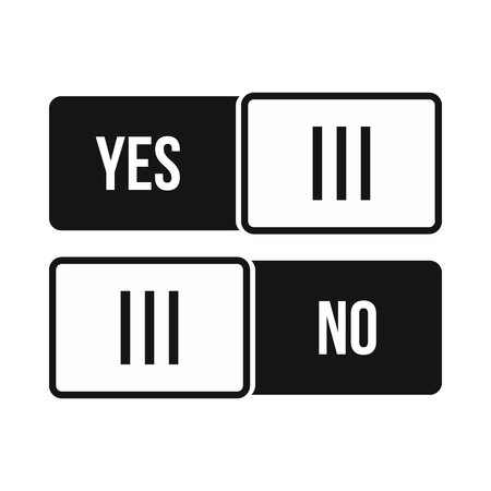 yes or no: Yes and No button icon in simple style on a white background Illustration