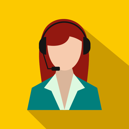 support phone operator: Support phone operator in headset icon in flat style on a yellow background