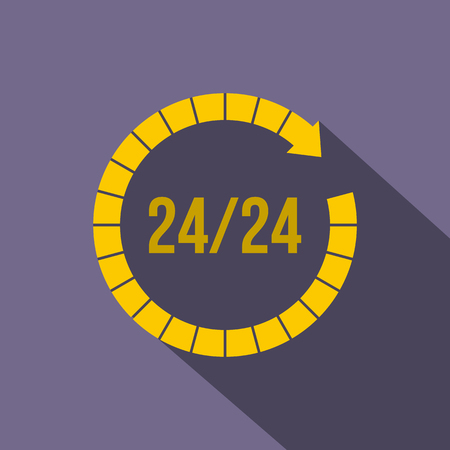 refreshed: 24 hours customer support service icon in flat style on a violet background