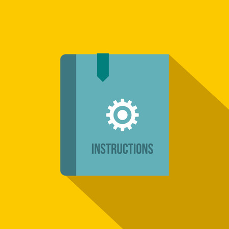 Instruction book icon in flat style on a yellow background