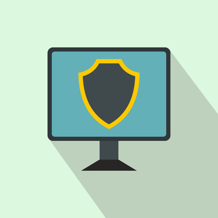 security monitor: Monitor with security shield on the screen icon icon in flat style on a light blue background
