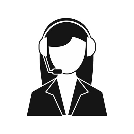 headset woman: Support phone operator in headset icon in simple style on a white background