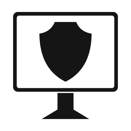 security monitor: Monitor with security shield on the screen icon in simple style on a white background