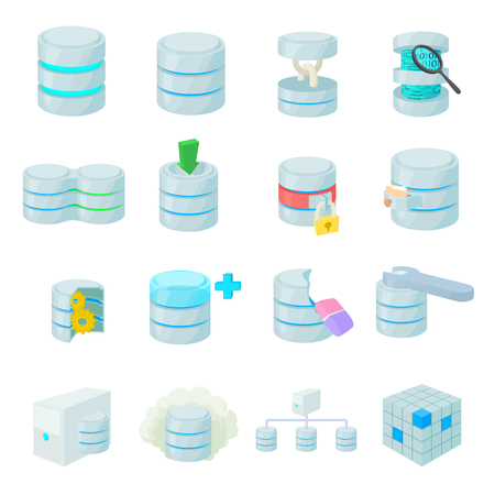 cylinder lock: Data base icons set in cartoon style isolated on white
