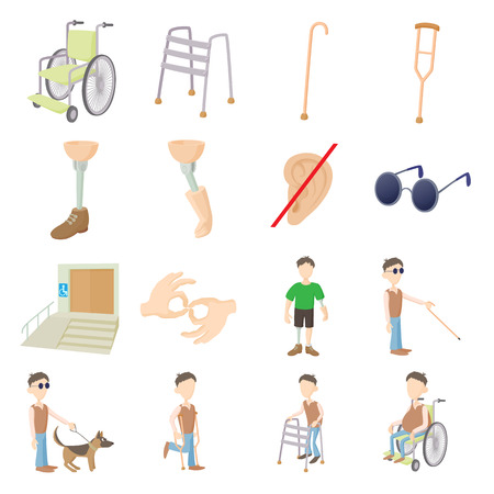 wheelchair users: Disabled people care set in cartoon style isolated on white background